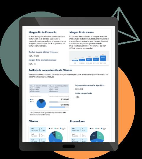tablet mostrando reporte